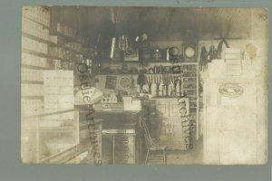Almora MINNESOTA RPPC 1910 INTERIOR GENERAL STORE nr Henning GHOST TOWN DPO