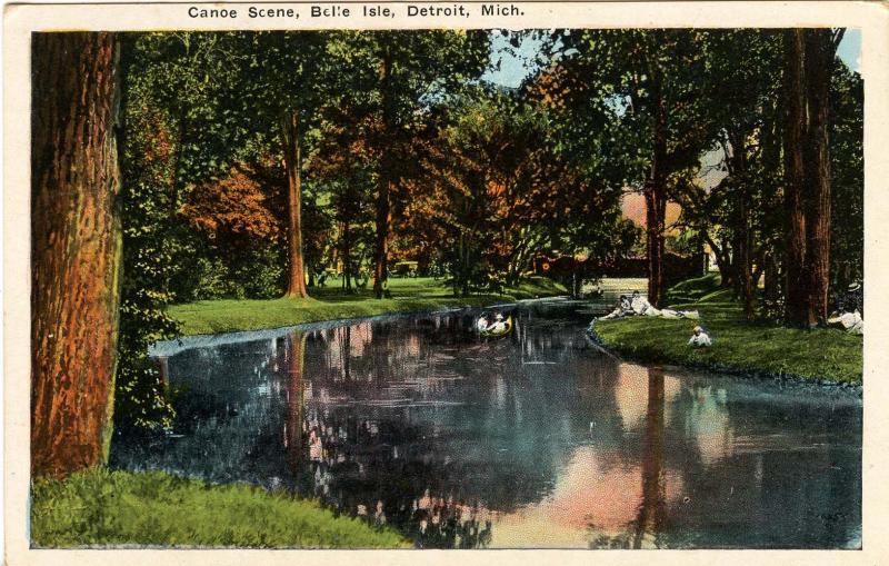 MI - Detroit. Belle Isle, Canoe Scene