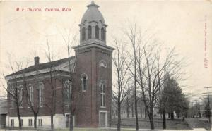 Clinton Michigan~ME Church & Street View~1908 Postcard