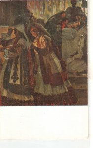 E. Chicharro. Ladies at the church Vintage Spanish Postcard