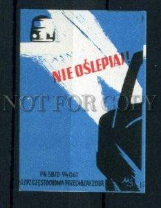 500802 POLAND road safety Vintage match label