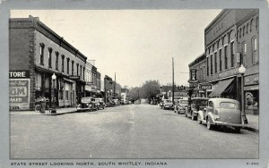 LP36 South Whitley Indiana Vintage Postcard State St view