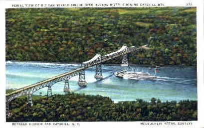 Aerial View of Rip Van Winkle Bridge Catskill Mountains NY Unused