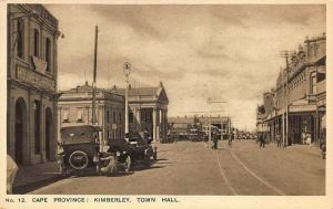 Cape Province Kimberley South Africa Town Hall Storefronts Old Cars Postcard