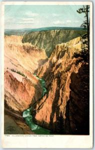 Wyoming Postcard Yellowstone Canyon from Inspiration Point National Park 1910s