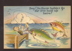 MAN FISHING LARGE FISH CATCH BITING HIM VINTAGE COMIC POSTCARD