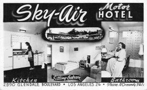 RPPC SKY-AIR Motor Hotel Glendale Blvd LOS ANGELES Roadside Vintage Postcard