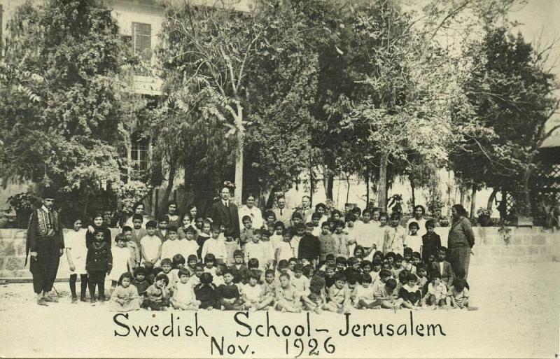 israel palestine, JERUSALEM, Swedish School (1926) RPPC Postcard