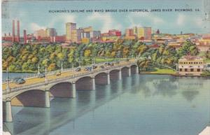 Virginia Richmond Skyline and Mayo Bridge Over James River