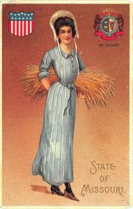 Langsdorf State of Missouri Beautiful Multi Color Woman State Seal Postcard