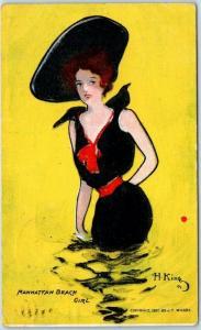 1908 Artist-Signed HAMILTON KING Postcard MANHATTAN BEACH GIRL CA Cancel