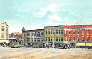 Hudson MA Wood Square Storefronts Trolleys  Postcard