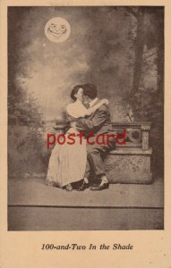 c1910? 100-and-Two In the Shade couple embracing with happy MOON, unused