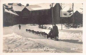 Dog Sled Team, Seigniory Club, P.Q., Canada, early real photo postcard, unused