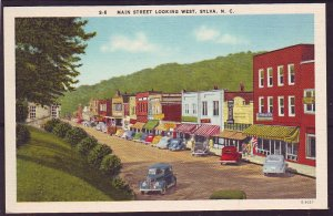 P1414 vintage unused postcard many old cars looking west sylva north carolina