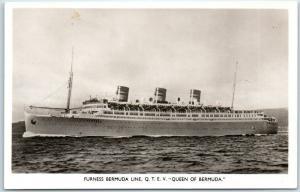 FURNESS BERMUDA Steamship Line RPPC Photo Postcard QUEEN OF BERMUDA Unused