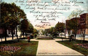 Maryland Baltimore Scene On Eutaw Place 1907