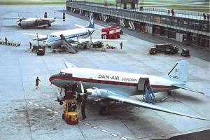 Postcard 1964 Manchester Airport, Dan Air Dakota Ambassador, KLM Viscount 90K