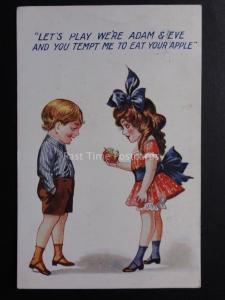 Comic Postcard: Adam & Eve Theme LETS PLAY WERE ADAM & EVE & YOU TEMPT ME.. c192