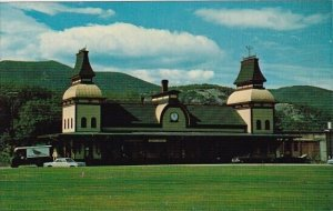 New Hampshire North Conway Railroad Station With Moat Mountain Range In Backg...