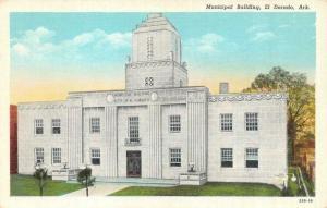 EL DORADO, AR Arkansas   MUNICIPAL BUILDING   c1940's Curteich Linen Postcard