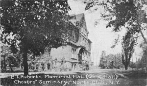 North Chili Wisconsin Chesbros Seminary Memorial Hall Antique Postcard K36018