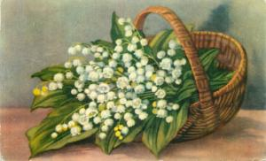 Romania greetings postcard lilies of the valley 1960