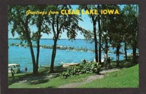 IA Greetings From CLEAR LAKE IOWA Postcard Sunset Bay
