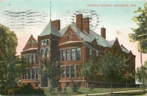 Appleton Wisconsin~Lincoln School Corner View Through Trees 1908 Postcard