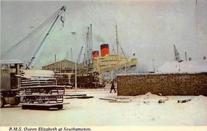 5585 R.M.S. Queen Elizabeth at Southhampton, in port  Snow Covered
