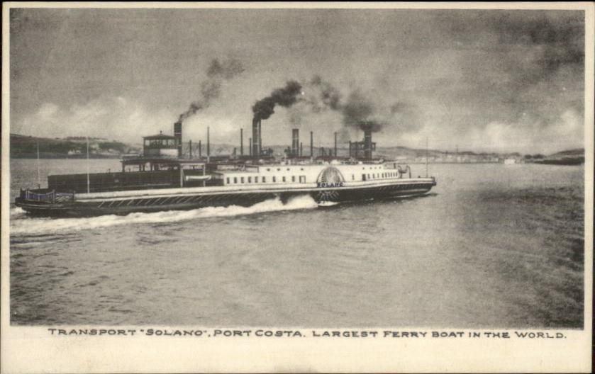 Port Costa CA Ferry Boat Ship Solano c1910 Albertype Postcard