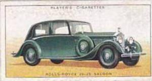 Player Vintage Cigarette Card Motor Cars 1st Series 1936 No 37 Rolls Royce 20...