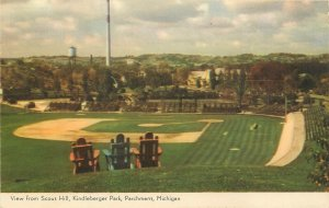 View From Scout Hill, Kindleberger Park, Parchment, MI Postcard. Baseball Field