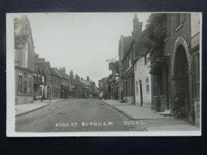 Bucks BURNHAM High Street shows THE GEORGE & SWAN HOTELS Old RP Postcard