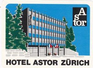Switzerland Zurich Hotel Astor Vintage Luggage Label sk4221