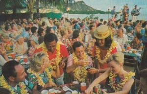 Hawaii Waikiki Luau With Diamond Head In Background 1969