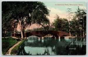 Worcester Massachusetts~Institute Park Arch Bridge~Reflects~1910 JJ Williams Pub