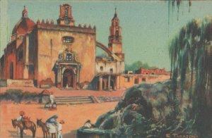 Oleo De Salvador Tarazona Xuituzco Mexico Old Painting Postcard