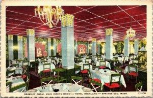 SPRINGFIELD Massachusetts Hotel Postcard - regency room dining room vintage
