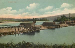 Dummer NH~Pontook Dam~Men Standing on Dam Looking at Water~Canoes~1911 Postcard