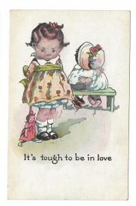 Comical Kids Postcard It's Tough to be in Love Children