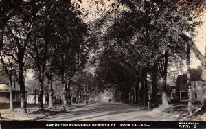 Rock Falls Illinois~Residence Street~Homes Along Shady Road~1914 Real Photo~RPPC