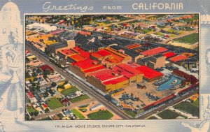 M.G.M. Movie Studios, Culver City, California, Early Linen Postcard, Unused