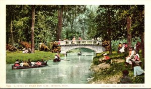 Michigan Detroit Belle Isle Canal Scene Canoeing Detroit Publishing