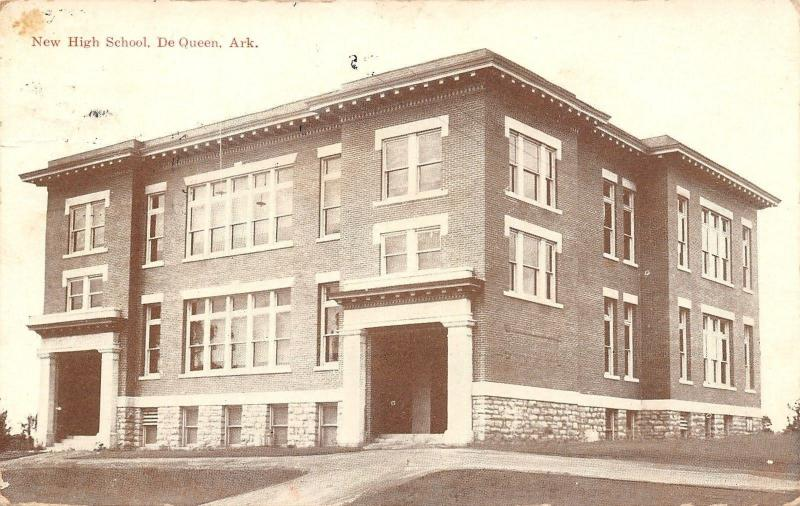De Queen Arkansas~New High School~Peaches Are Ripe~Sepia 1912 Mendota Illinois