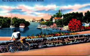 Bermuda View Of Hamilton Harbor From Crow Lane 1954