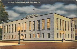 Erie Pennsylvania~US Federal Building~Night Lights~1942 Postcard