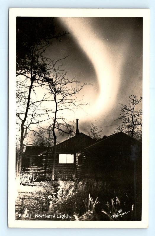 Postcard AK Northern Lights RPPC Real Photo by Robinson R60