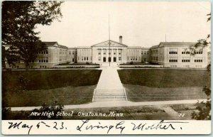 1923 OWATONNA, Minnesota RPPC Real Photo Postcard NEW HIGH SCHOOL Front View
