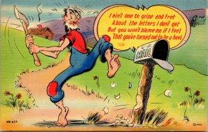 Vtg Linen Comic Postcard Hillbilly Letters I Don't Get Humor Artist Signed Lehy